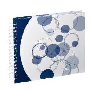 AA spirálos, fehér lapos, kék körös Vendégkönyv, fotóalbum, scrapbook - Kék