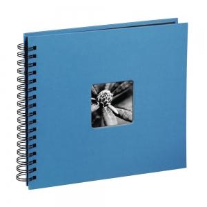 AA spirálos, fekete lapos, ablakos, azúrkék Vendégkönyv, fotóalbum, scrapbook - Azúrkék