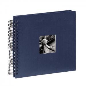 AA spirálos, fekete lapos, ablakos, kék Vendégkönyv, fotóalbum, scrapbook - Kék