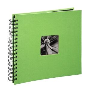 AA spirálos, fekete lapos, ablakos, limezöld Vendégkönyv, fotóalbum, scrapbook - Lime